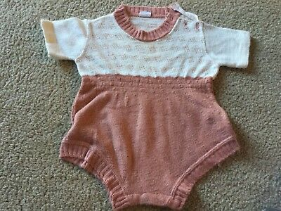 ANTIQUE VINTAGE BABY Boy OUTFIT STERNBERT CREATIVE KNITS Rust Cream One Piece