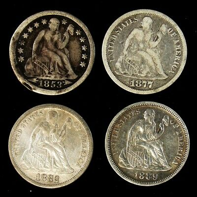 5 Seated Liberty Silver Dimes - Avg Circ or Better - 1853, 1877-CC, 1882, 1889
