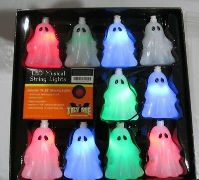 Multi-colored Flashing LED Musical Ghost String Lights indoor only & works  NIP