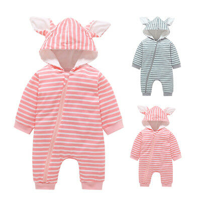 Baby Neugeborenes Junge Mädchen Unisex Strampler Mit Kapuze Overall Body Outfits
