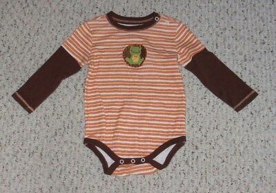 Best of Chums Orange, White & Brown L/S Bodysuit w/ Green Crocheted Frog, 12 mos