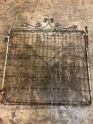 ANTIQUE 1800s ESTATE WROUGHT CAST IRON GARDEN GATE Wire Acorn Gate