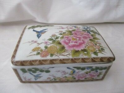 Asian painted cigarette box with lid blue bird pink flower unsigned old