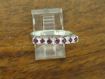 Vintage palladium ART DECO ANTIQUE RUBY STACKABLE BAND WEDDING ENGAGEMENT ring