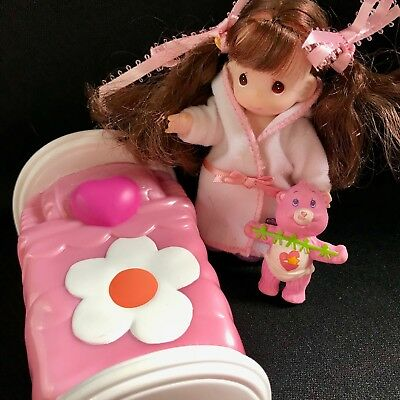 Small Precious Moments Doll with Robe & 1984 Pink Bear and Dollhouse Bed