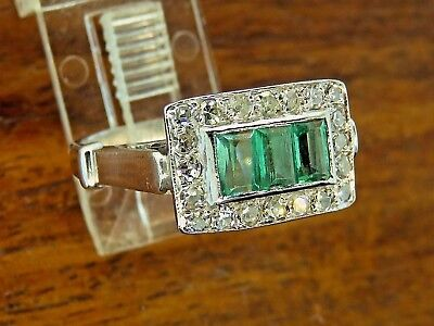Vintage palladium ART DECO ANTIQUE COLOMBIAN EMERALD DIAMOND FILIGREE ring