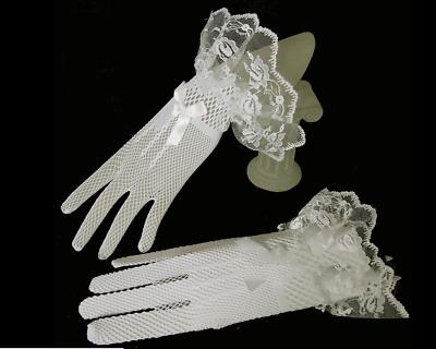 Lace Short Bridal Full Gloves Wedding Evening Party Pageant Gloves Free