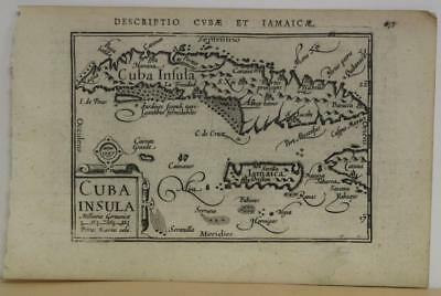 Cuba & Jamaica 1597 Langenes Unusual Antique Original Copper Engraved Map