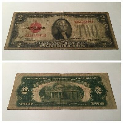 Vintage $2 1928-D United States Note Two Dollars Dollar Bill Jefferson Red Seal