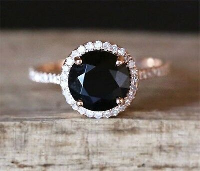 Vintage Style Classical Women's Natural Round Black Stone Wedding Ring R50