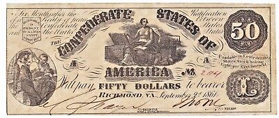 SECOND ISSUE Civil War 1861 CONFEDERATE STATES OF AMERICA $50 NOTE T-14