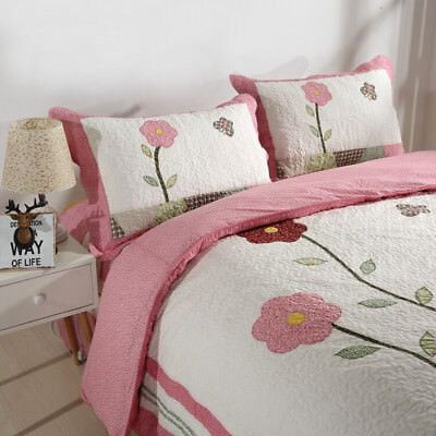 Floral Quilted Patchwork Bedspreads Set Queen Size Coverlet Blanket Throw Rug