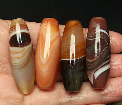 42g 4Pcs Banded Eyed Nepal Indo Tibet Agate Old Bead Amulet for Gift