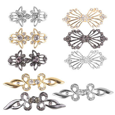 3Pairs Fashion Shiny Crystal Cloak Clasps Fasteners Sew On Hooks Cardigan Clips