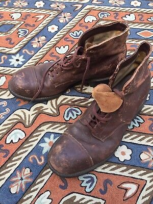 Vintage 30s 40s Work Wear LEATHER BOOTS Steel Toe Lace Up 9 MENS