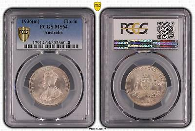 1936m Australia Florin 2/- PCGS GRADED - MS64 - 048