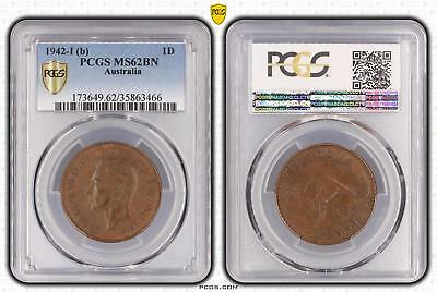 1942-I b Australia One Penny 1D PCGS GRADED - MS62BN - 466