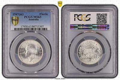 1947m Australia Florin 2/- PCGS GRADED - MS63 - 307