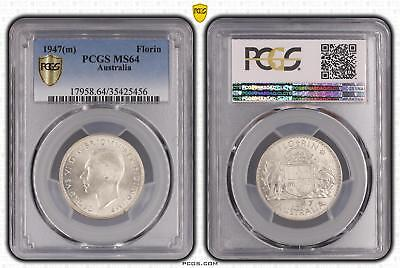 1947m Australia Florin 2/- PCGS GRADED - MS64 - 456