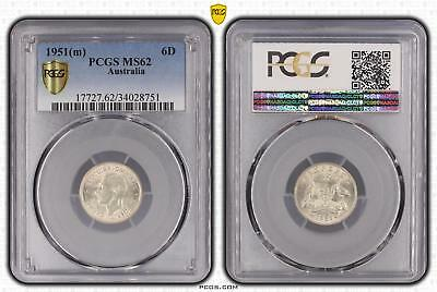1951m Australia Sixpence 6D PCGS GRADED - MS62 - 751