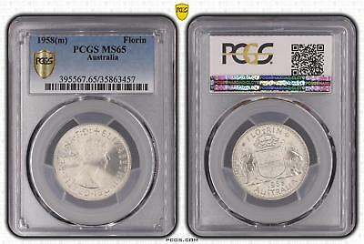 1958m Australia Florin 2/- PCGS GRADED - MS65 - 457