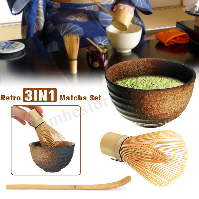 3Pcs Japanese Bamboo Matcha Whisk Chashaku Scoop Ceramic Tea Bowl Chasen Set A