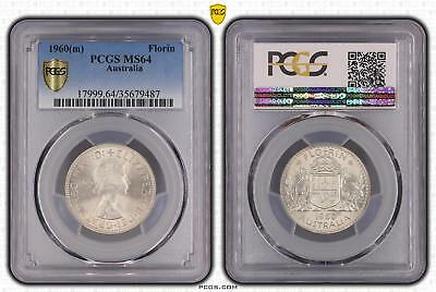 1960m Australia Florin 2/- PCGS GRADED - MS64 - 487