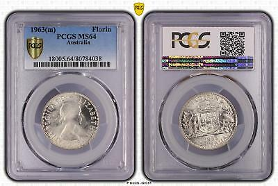 1963m Australia Florin 2/- PCGS GRADED - MS64 - 038