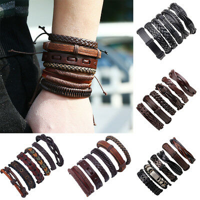 6pcs/Set Unisex Punk Leather Wrap Braided Wristband Cuff Punk Bracelet Bangle