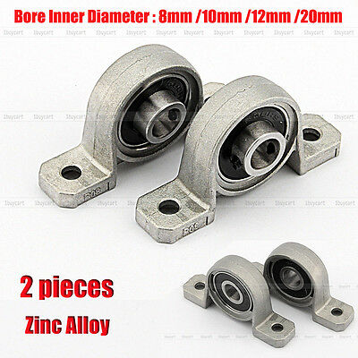 2PCS Zinc Alloy 8/10/12/20mm Bore Diameter Ball Bearing Pillow Block Mounted