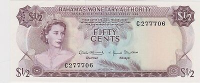 P26a BAHAMAS MONETARY AUTHORITY 1968 FIFTY CENTS BANKNOTE IN MINT CONDITION
