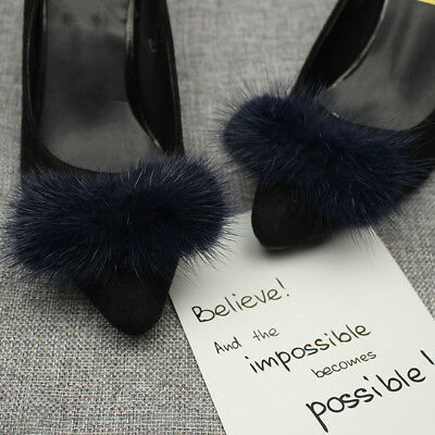 1 Pair Mink Fur Pom Pom Shoe Clips Fluffy Ornament Heels Boots Charm Decor DIY