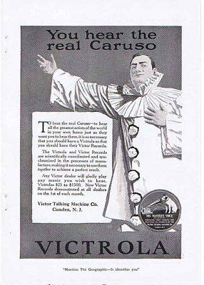 VICTROLA 'Hear The Real Caruso' 1920 Ad