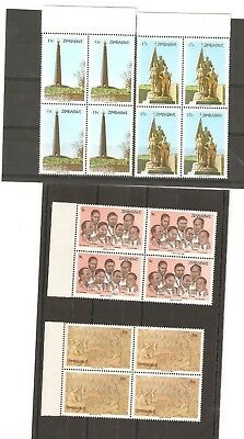 Zimbabwe Heroes Blocks Of 4 Stamps Mn Issued 1984  Sg 643/6