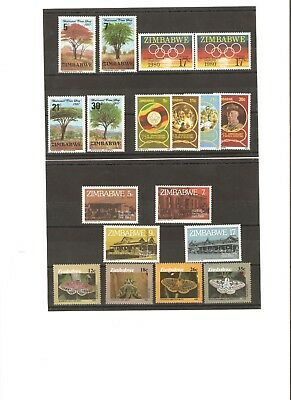Zimbabwe Collection Of Stamps From The 1980S Mnh
