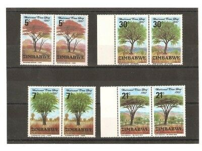 Zimbabwe Trees Stamps In Mnh Pairs From 1981 Sg 606/9