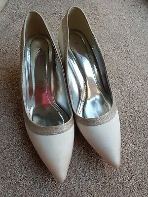 Rainbow Club Wedding Shoes Size 7.Satin with Sparkly Silver trim.