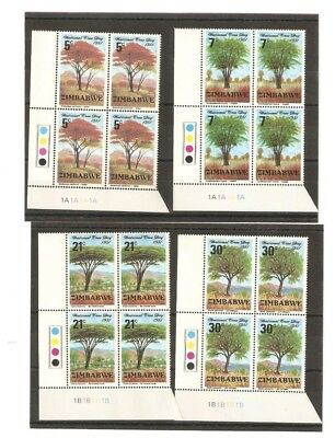 Zimbabwe Trees Stamps Issued 1981 In Mnh Blocks Of 4 Sg 606/9