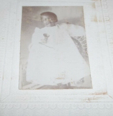 Small Vtg Black Americana Photo of a Child in Christening Gown Holding a Bell
