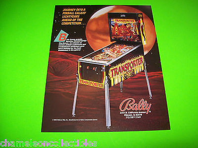 TRANSPORTER The Rescue By  Bally 1989 ORIGINAL NOS Pinball Machine Sales FLYER