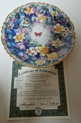 Collector Plate Coa Bradford Exchange Circle Of Delight Floral Greetings