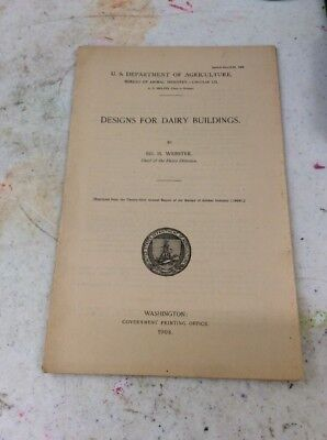 US DEPARTMENT OF AGRICULTURE FARMERS BULLETIN Design For Dairy Buildings 1908