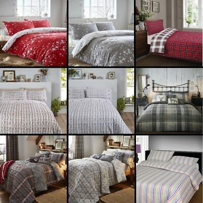 Thermal 100% Brushed Cotton Flannelette Quilt Duvet Cover Bed Set Soft Cosy Warm