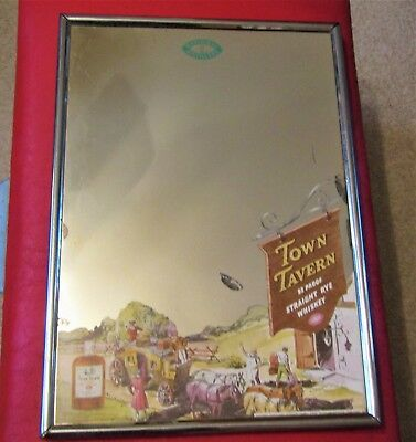 vtg 1930's TOWN TAVERN WHISKEY MIRROR wall sign NATIONAL DISTILLERIES NEW YORK