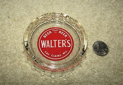 WALTER'S beer 1950's bottle cap shaped GLASS ashtray  EAU CLAIRE, WISCONSIN