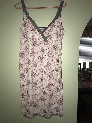Womens Maternity Nursing Gown Size Large Pink Floral