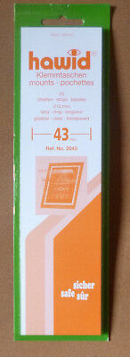 HAWID STAMP MOUNTS 43mm CLEAR Pack of 25 Strips 210mm x 43mm - Ref. No. 2043