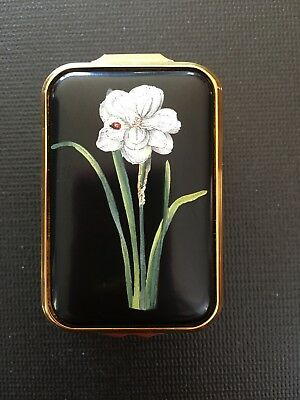 Halcyon Days Double Narcissus RHS Art Collection Black Green Trinket Box RARE