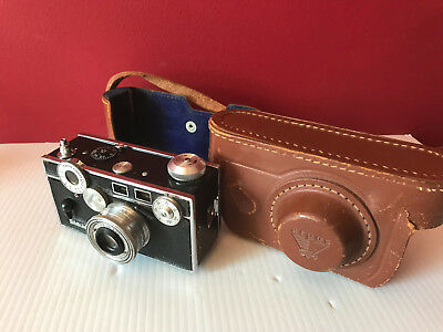 ARGUS C3 Vintage Black 35mm Camera w/ Cintar 50mm f/3.5 Lens, Leather Case