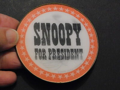 """SNOOPY FOR PRESIDENT  Flicker Button  Peanuts 1970s  Plastic  Pinback  3"""""""